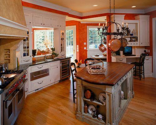2002 Showcase, kitchen, center island, red, tan, view #2
