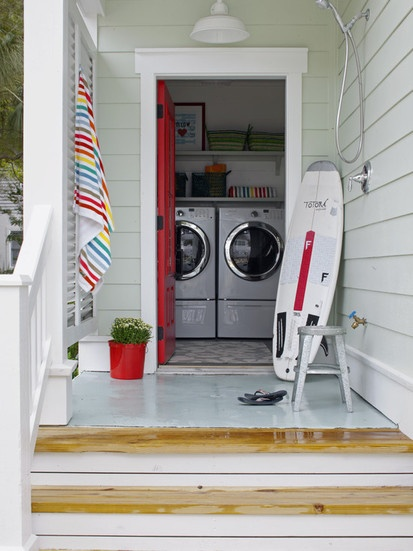 Outdoor Shower   Laundry, Contemporary Laundry Room