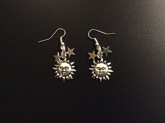 Game of Thrones earrings sun and stars earrings by PetalcraftArt