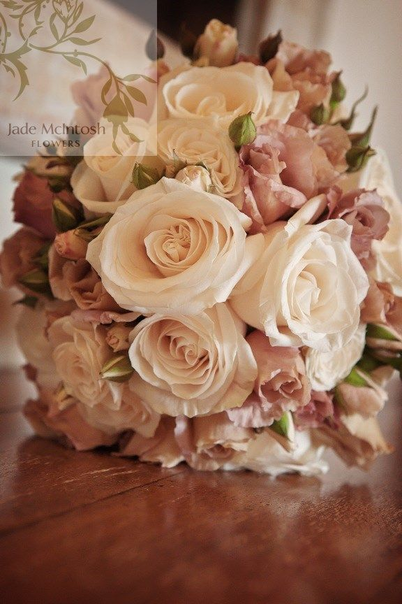 Latte love. Classic rounded posy of columbian vendelha roses and latte juliet roses and their buds. www.jademcintoshflowers.com.au