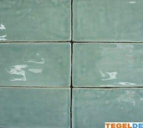 Wandtegel handvorm, Jade, 7,5x15 cm, replica Friese witjes | Wandtegel handvorm, Jade / groen, 7,5x15 cm, replica Friese witjes