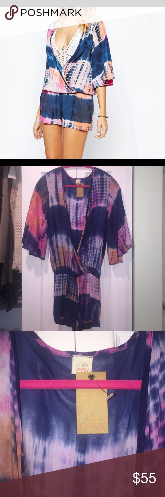 NWT Sz small Surf Gypsy romper coverup Super soft beach romper in navy/orange/pink tie dye colors. Size small (4-6) and new with tags by Surf Gypsy. This is perfect over a bikini!!! Surf Gypsy Swim Coverups