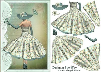 femme art déco 1950s Lady Catching Butterflies Decoupage