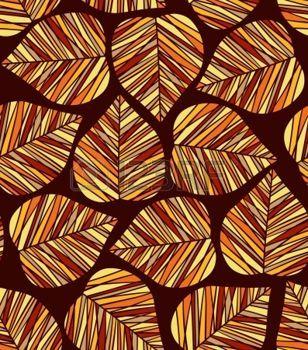 dibujos de hojas de otoño: Modelo inconsútil de la hoja del otoño estilizado