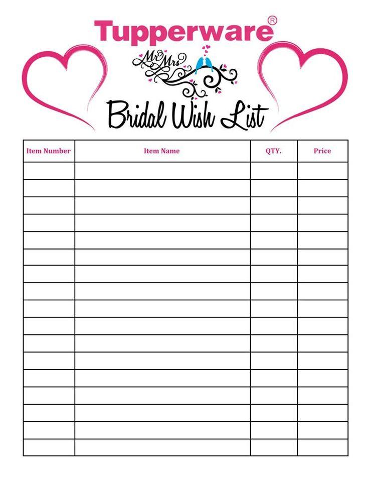 Tupperware Bridal Wish List