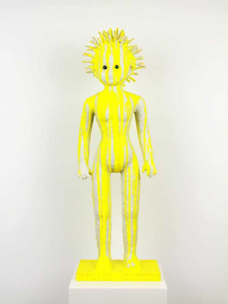 The Public House of Art | Preta Wolzak - Sassenach. Modern Sculptor. Preta Wolzak is a photography artist that has created a special series  named 'Dolls' exclusively for The Public House of Art's special Exhibition - Identity Kit. #affordableart #yellow #doll #sculpture
