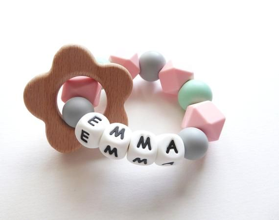 Personalised Teething Ring|Baby Name Teether|New Baby Gift|Stocking Filler|Bunny