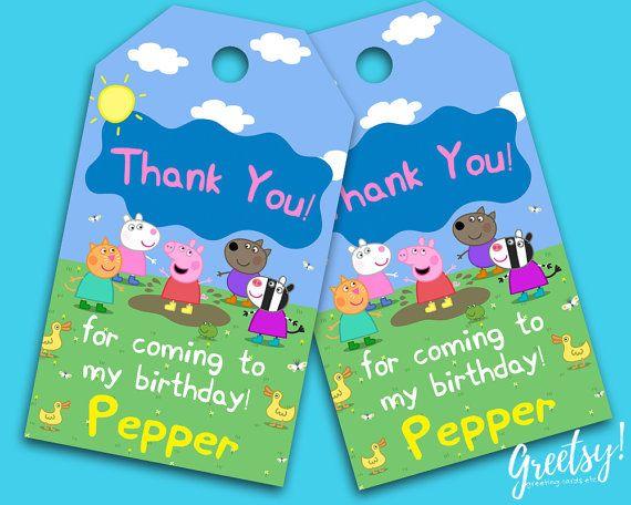 Peppa Pig Thank You Tags Peppa Pig Birthday by GreetsyInvites