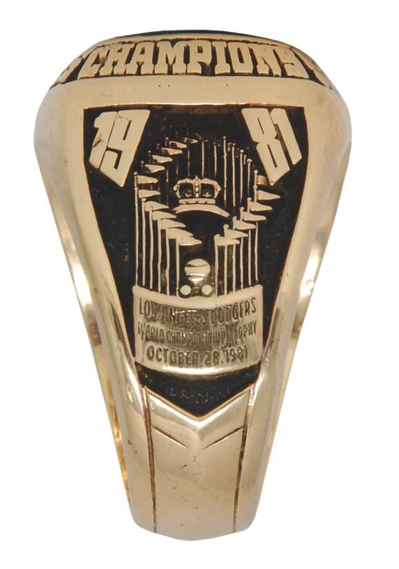 1981 Los Angeles Dodgers World Championship Ring (profile). Centerfielder #44 Landreaux, caught the last out in that game.