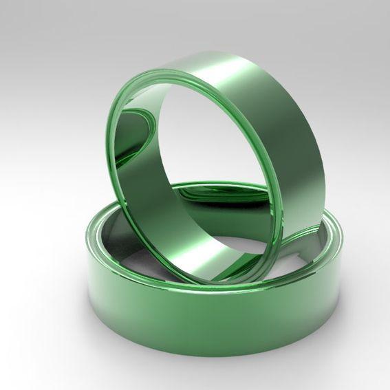 Custom Made 14k Green Gold Wedding Band Beveled Sides Plain Wedding Ring