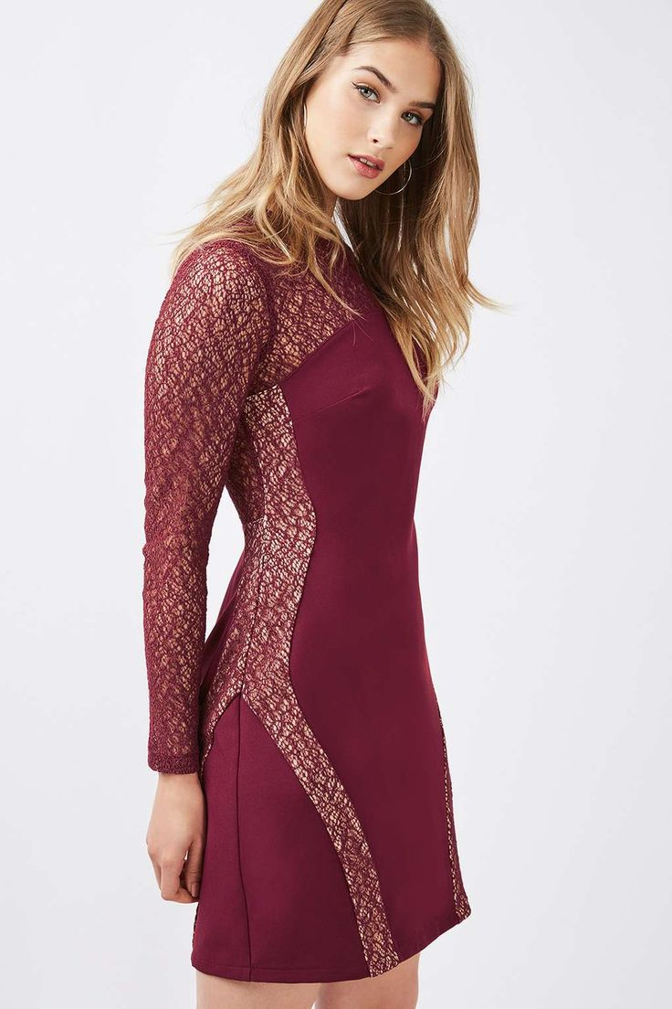 Long Sleeve Contour Lace Bodycon Dress