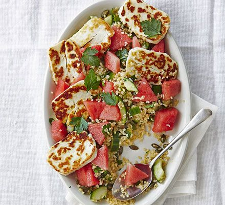 Halloumi & watermelon bulghar salad. A satisfying vegetarian salad of contrasting flavours and textures. The salty cheese is cooled by crisp, sweet watermelon