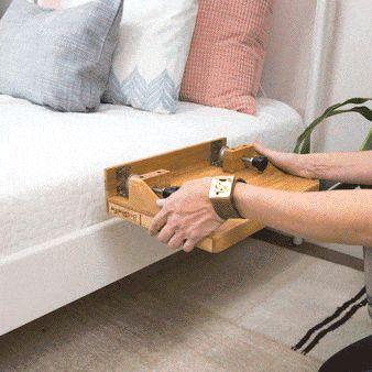 BedShelfie - Bamboo Bedside Shelf / Space-Saving Floating Nightstand (in Espresso)