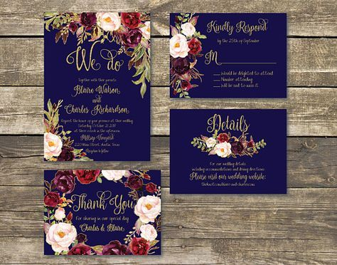 Printed Wedding Invitation  Fall Floral Watercolor Wedding