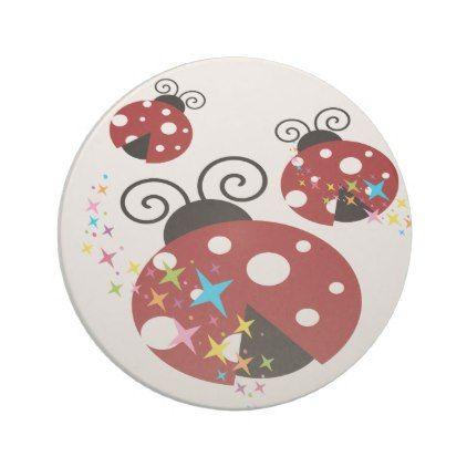 Three red and black ladybug with stars sandstone coaster - kids kid child gift idea diy personalize design