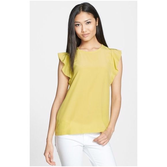 Kate Spade Silk Frill Shell Top Yellow 8 Kate spade silk frill shell top in Cubanelle yellow size 8. Purchased on posh in excellent condition, no flaws but found a bigger size I prefer. Offers welcome kate spade Tops