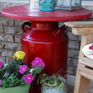 How Cool Is This Patio Table Made From a Milk Can?