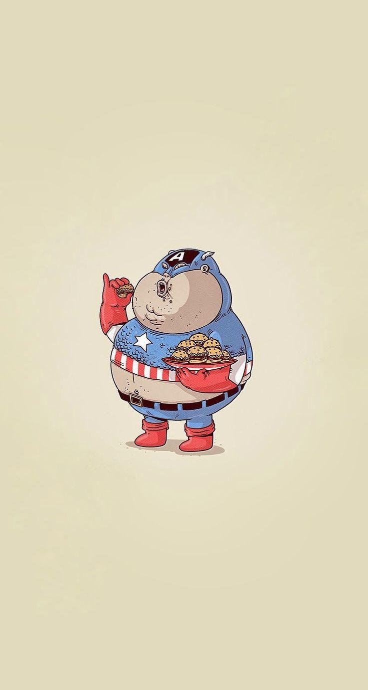 Fat Captain America #superheroes iPhone wallpaper - @mobile9