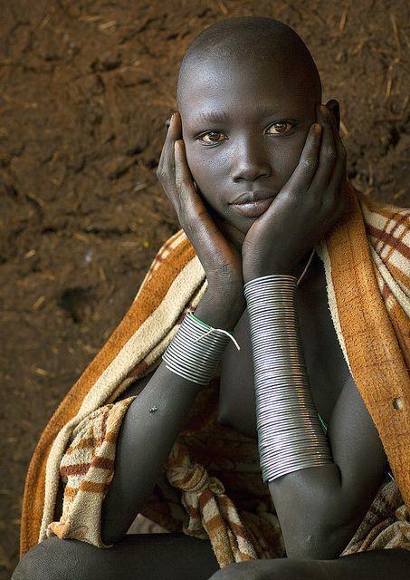 Masuli, Suri teenager girl, Kibish, Omo valley, Ethiopia by Eric Lafforgue