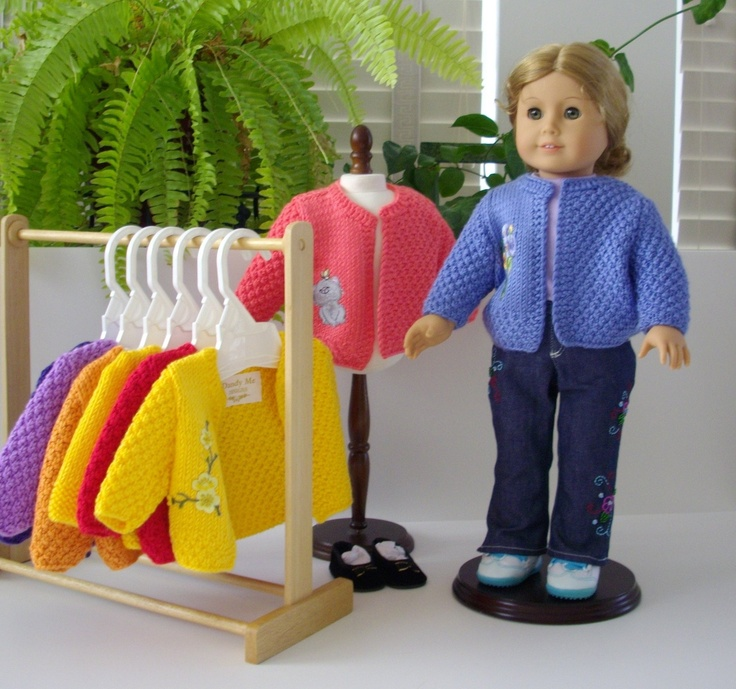 American Girl Doll Knitting Pattern  blue cardigan jacket with applique 18 doll  PDF format instant download, Permission to Sell. $6.00, via Etsy.