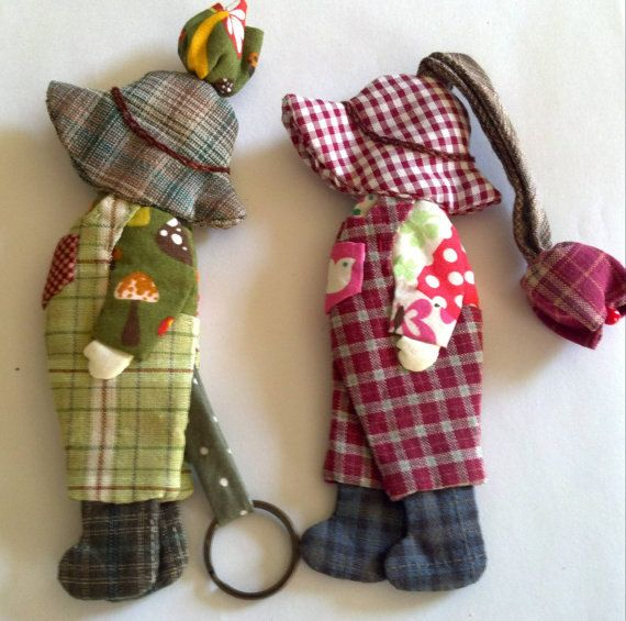Cute quilted Key Cover Sunbonnet Sue and Sunbonnet Sam with hand embroidered. $13.45, via Etsy.