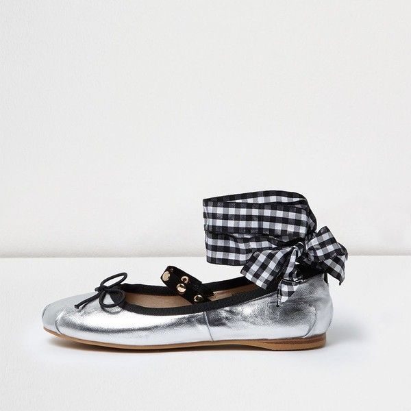 River Island Silver ankle ribbon ballet flats (£45) via Polyvore featuring shoes, flats, shoes / boots, silver, women, silver metallic shoes, ribbon ballet flats, ballet pumps, t-strap flats and strappy flats