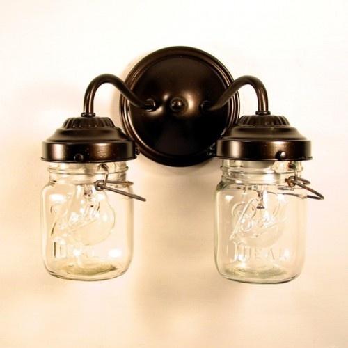 wall mount double sconce mason jar ligh Mason Jar Art Pinterest