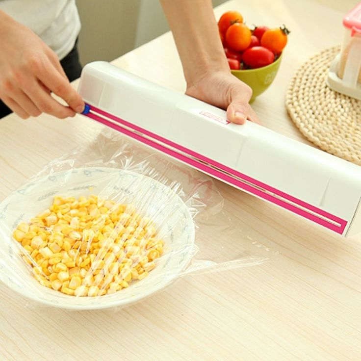 Fruit Vegetable Plastic Cling Wrap Dispenser Preservative Film Cutter Kitchen Hs