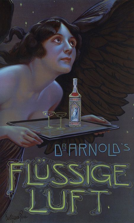 Poster design by Carl Hano Pless advertising 'Dr. Arnold's Flüssige Luft' (Dr. Arnold's liquid air, some sort of alc...