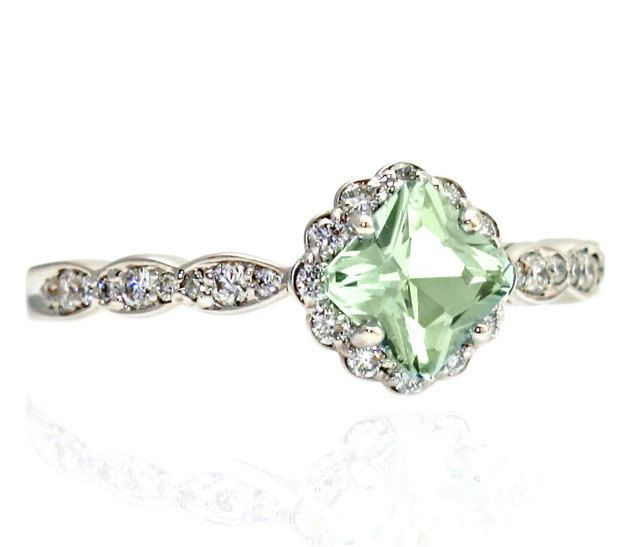 Unique color Engagement ring.Palladium Asscher Green Amethyst Ring Diamond Halo by RareEarth etsy