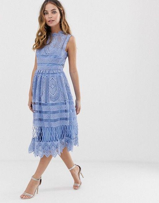 e28034dc129 Boohoo Petite exclusive crochet lace midi dress in light blue in ...