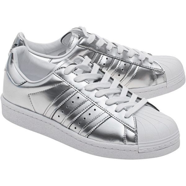 ADIDAS ORIGINALS Superstar Boost Silver Metallic // Sneakers with... found on Polyvore featuring shoes, sneakers, metallic shoes, rubber sole shoes, flat shoes, synthetic leather shoes and synthetic leather sneakers