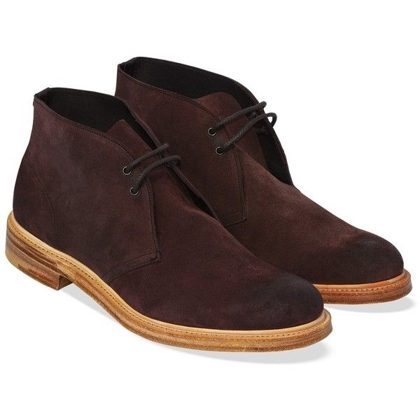 Cheaney Jesmond   Mens Plum Suede Chukka Boot   Made in England ❤ liked on Polyvore featuring men's fashion, men's shoes and men's boots