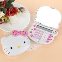 Mini Bonito Rosa Olá Kitty Calculadora Calculadora Eletrônica LCD Espelho Meninas Presentes Kalkulaator Rechner Rekenmachine