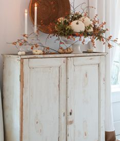 LOVE the fall decor and the cupboard!