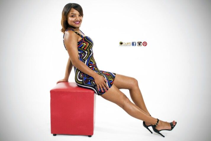 Studio Shoot #model #colourful #dress #heels #legs #smile #body
