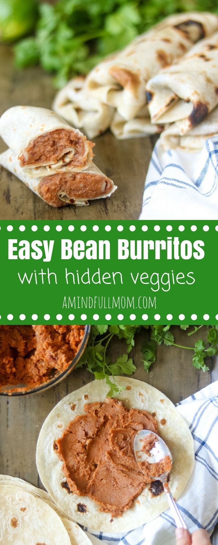 Easy Homemade Bean Burritos: Refried beans and pumpkin puree are mixed together with taco seasonings and stuffed into a flour tortilla for a healthier spin on a vegetarian burrito. No one will guess these refried bean burritos have a serving of veggies.  Gluten free and vegan modifications included. #vegetarianrecipe #burrito #Mexicanrecip #glutenfreerecipe via @amindfullmom