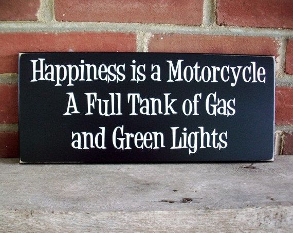 Motorcycle Wood Sign Happiness is Biker Wall by CountryWorkshop, $17.95
