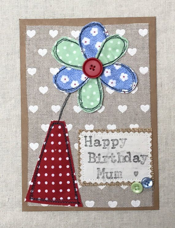 Flower Appliqué Card Mothers Day Birthday Card by CalonB on Etsy