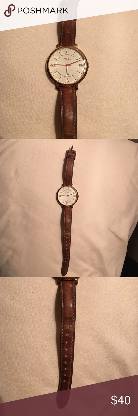 Women's Fossil Watch This watch is in good condition! A little worn on the band. Minimal scuffs. Fossil Accessories Watches
