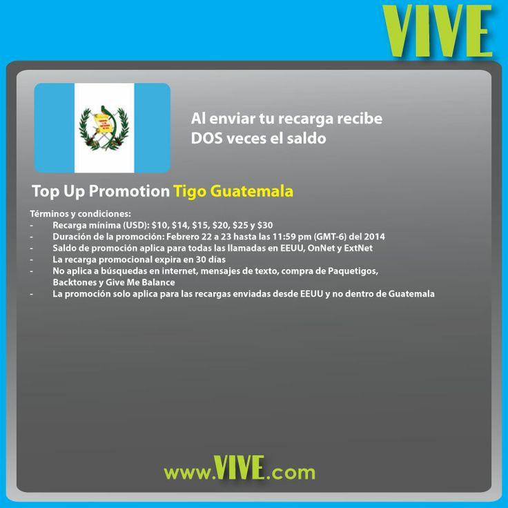 Al enviar tu #recarga #móvil #internacional, tus seres queridos reciben DOBLE saldo #Tigo #Guatemala Visita www.vive.com
