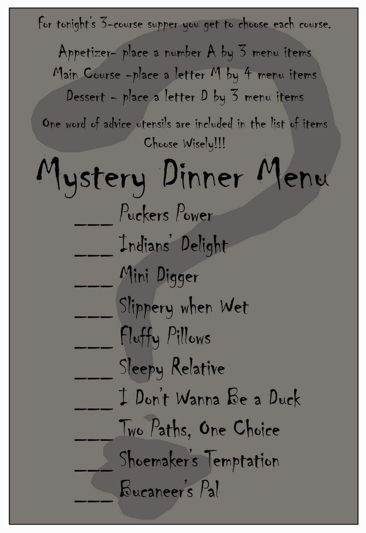 Mystery Dinner Menu | Party - Nancy Drew/Mystery/Detective ...