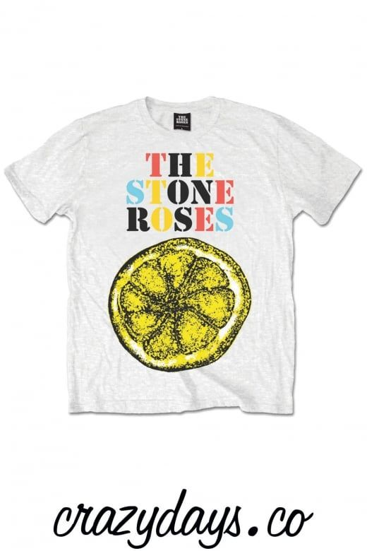 """Official Merchandise Stone Roses Lemon Multicolour Unisex T-Shirt.  This Stone Roses Lemon Multicolour Unisex T-Shirt is available in sizes Med (Medium 38"""", 97cm) Large (Large 42"""",107cm) XL(XL 46"""", 117cm) and available in a White Luxurious SuperSoft T-Shirt.  You can find many more music related T-Shirts in Our Official Merchandise on www.crazydays.co. Free UK shipping"""