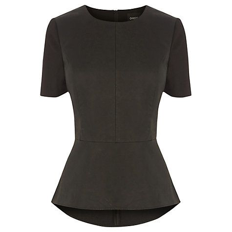 Buy Oasis Katie Faux Leather Peplum Top, Black Online at johnlewis.com