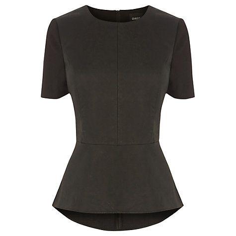 Buy Oasis Katie Faux Leather Peplum Top, Black Online at johnlewis.com