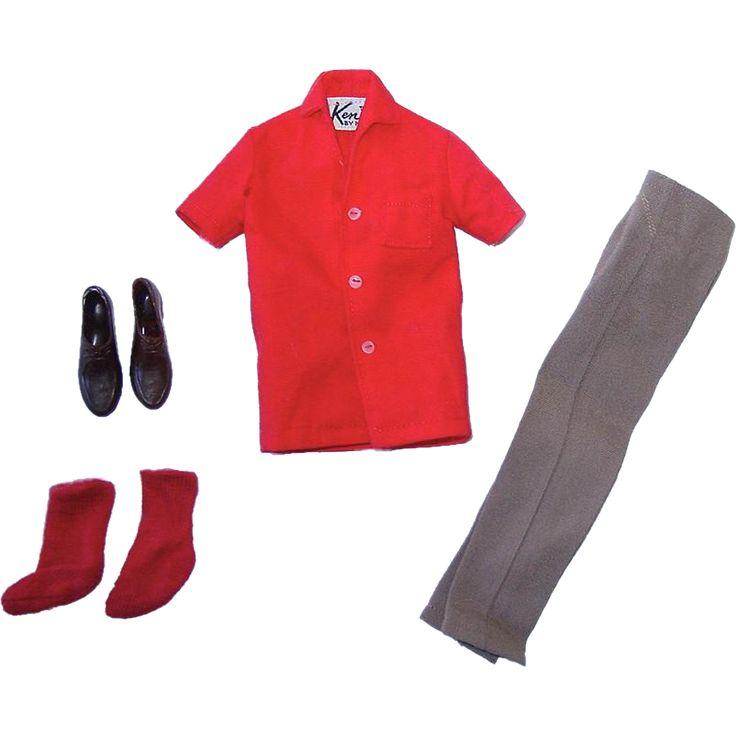 Vintage Ken Outfit ~ Brown Slacks, Red Shirt, Shoes & Socks