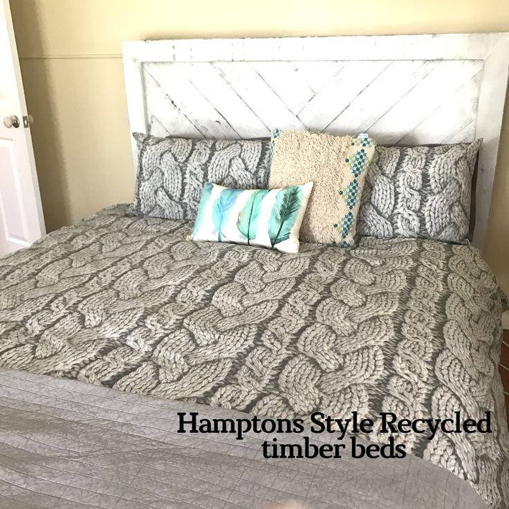 Hamptons style recycled timber queen bed by Wildwood Designs, available now at our Stanmore stor.