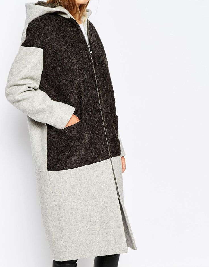 Image 3 ofWhistles Hooded Coat With Boucle