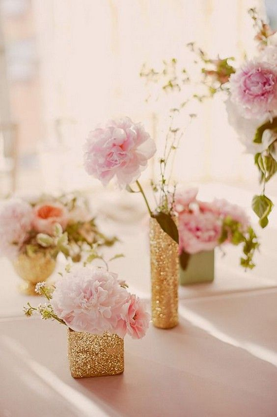 Glitter and blush accents wedding centerpiece / http://www.deerpearlflowers.com/glitter-wedding-ideas-and-themes/2/