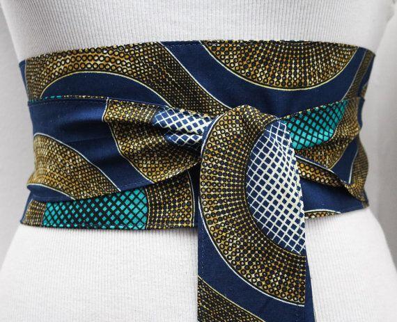 Navy Turquoise Ankara Obi Belt l African Print Obi by LoveYaaYaa